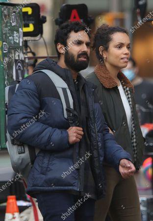 Kunal Nayyar, Georgina Campbell, on the set of the new Apple TV series Suspicion at Washington Square Park