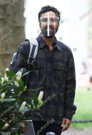 Stock Photo of Kunal Nayyar on the set of the new Apple TV series Suspicion at Washington Square Park