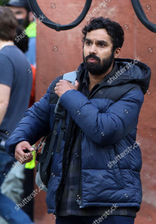 Stock Picture of Kunal Nayyar on the set of the new Apple TV series Suspicion at Washington Square Park
