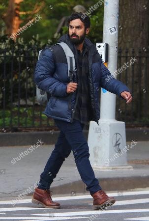 Kunal Nayyar on the set of the new Apple TV series Suspicion at Washington Square Park