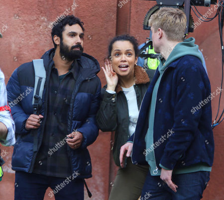Kunal Nayyar, Georgina Campbell, Tom Rhys Harries on the set of the new Apple TV series Suspicion at Washington Square Park