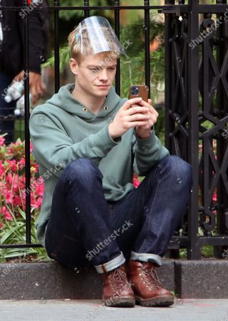 Stock Image of Tom Rhys Harries on the set of the new Apple TV series Suspicion at Washington Square Park