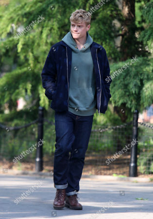 Stock Photo of Tom Rhys Harries on the set of the new Apple TV series Suspicion at Washington Square Park