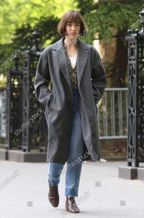 Elizabeth Henstridge on the set of the new Apple TV series Suspicion at Washington Square Park