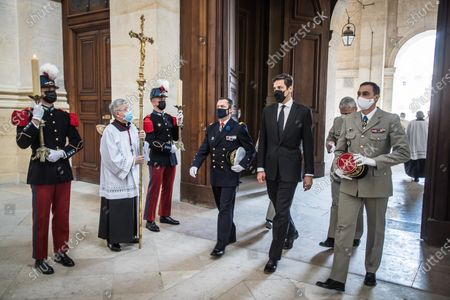 Prince Jean-Christophe Napoleon (2-R) attends a tribute mass as part of the ceremony for the bicentenary of the death of French Emperor Napoleon Bonaparte at the Saint-Louis Cathedral in the Invalides in Paris, France, 05 May 2021. 200 years ago, French military and political leader Napoleon Bonaparte (1769-1821) died in exile on the island of Saint Helena on 05 May 1821. Official commemorations of the bicentenary of his death sparked controversy in France among those who consider him to represent a dark part of the country's history and those who support his legacy.