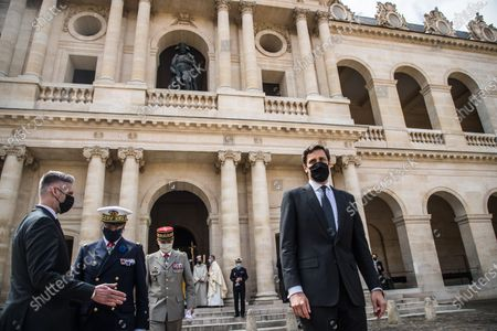 Prince Jean-Christophe Napoleon (R) leaves the mass after the ceremony for the bicentenary of the death of French Emperor Napoleon Bonaparte at the Saint-Louis cathedral in the Invalides in Paris, France, 05 May 2021. 200 years ago, French military and political leader Napoleon Bonaparte (1769-1821) died in exile on the island of Saint Helena on 05 May 1821. Official commemorations of the bicentenary of his death sparked controversy in France among those who consider him to represent a dark part of the country's history and those who support his legacy.