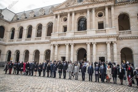 Prince Jean-Christophe Napoleon (C-R) and his wife Princess Olympia (C-L) pose with Napoleon Bonaparte family members after the mass for the bicentenary of the death of French Emperor Napoleon Bonaparte at the Saint-Louis cathedral in the Invalides in Paris, France, 05 May 2021. 200 years ago, French military and political leader Napoleon Bonaparte (1769-1821) died in exile on the island of Saint Helena on 05 May 1821. Official commemorations of the bicentenary of his death sparked controversy in France among those who consider him to represent a dark part of the country's history and those who support his legacy.