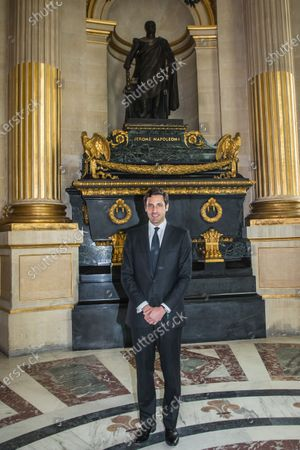 Prince Jean-Christophe Napoleon poses in front of Jerome Napoleon's tomb after a ceremony in homage to the French Emperor Napoleon Bonaparte for the bicentenary of his death under the dome of Saint-Louis cathedral in the Invalides in Paris, France, 05 May 2021. 200 years ago, French military and political leader Napoleon Bonaparte (1769-1821) died in exile on the island of Saint Helena on 05 May 1821. Official commemorations of the bicentenary of his death sparked controversy in France among those who consider him to represent a dark part of the country's history and those who support his legacy.