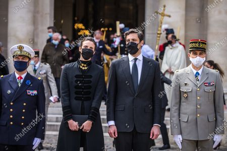Prince Jean-Christophe Napoleon (C-R) and his wife Princess Olympia (C-L) leave after the mass for the bicentenary of the death of French Emperor Napoleon Bonaparte at the Saint-Louis cathedral in the Invalides in Paris, France, 05 May 2021. 200 years ago, French military and political leader Napoleon Bonaparte (1769-1821) died in exile on the island of Saint Helena on 05 May 1821. Official commemorations of the bicentenary of his death sparked controversy in France among those who consider him to represent a dark part of the country's history and those who support his legacy.