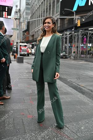Stock Photo of Jessica Alba rings the opening bell at the NASDAQ site in New York.
