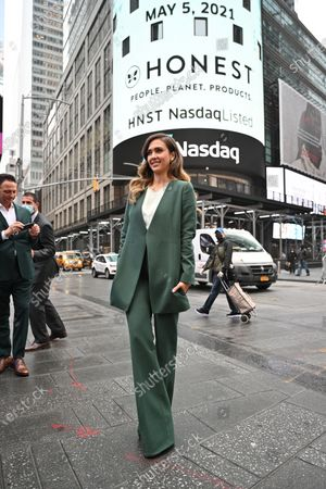 Jessica Alba rings the opening bell at the NASDAQ site in New York.