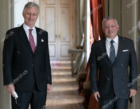 King Philippe - Filip of Belgium and Hashemite Kingdom of Jordan King Abdullah II ibn Al-Hussein pictured ahead of an audience at the Royal Castle in Laeken-Laken, Brussels, Wednesday 05 May 2021.