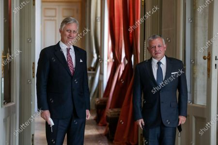 Jordan's King Abdullah (R) welcomed by King Philippe of Belgium ahead of a meeting at Laeken Royal Palace in Brussels, Belgium, 05 May 2021. According to a statement by the Royal Hashemite Court, King Abdullah II will be on a one-day working visit to the Belgian Capital during which he is scheduled to meet with King Philippe of Belgium, NATO Secretary General Jens Stoltenberg, European Council President Charles Michel, and European Commission President Ursula von der Leyen.