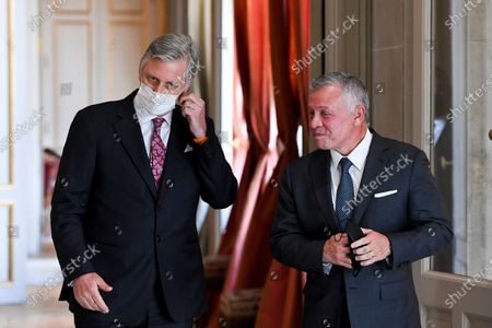 His Majesty King Philippe receives in audience His Majesty King Abdullah II ibn Al Hussein of Jordan. The audience takes place at the Castle of Laeken.
