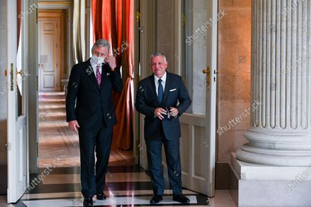 Stock Photo of His Majesty King Philippe receives in audience His Majesty King Abdullah II ibn Al Hussein of Jordan. The audience takes place at the Castle of Laeken.