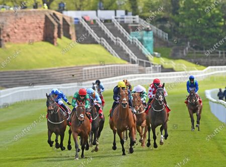 (2nd L-red cap) Grove Ferry (David Probert) wins The tote+ Placepots Pay More Earl Grosvenor Handicap Stakes.Photo © Hugh Routledge.