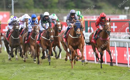 Stock Image of (R) Green Book (Franny Norton) leads the field on the 2nd circuit before going on to win The tote+ Chester Plate Handicap Stakes.Photo © Hugh Routledge.