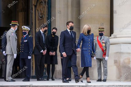 French President Emmanuel Macron and his wife Brigitte Macron leave the Saint-Louis cathedral in the Invalides National Hotel after attending a ceremony to commemorate the bicentenary of French Emperor Napoleon Bonaparte's death with Prince Jean-Christophe Napoleon, center left, and his wife Princess Olympia von und zu Arco-Zinneberg at the Invalides monument in Paris, . French President Emmanuel Macron is leading commemorations of the bicentenary of the death of Napoleon Bonaparte on May 5, 1821 on the remote island of St. Helena, amid debate over the French emperor's legacy and role in reinstating slavery in French colonies