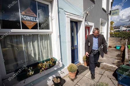 Liberal Democrat Candidate William Powell out in Brecon campaigning the day before the election.