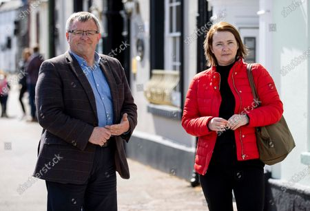Candidate William Powell (centre) with outgoing MS Kirsty Williams out in Brecon the day before the election.