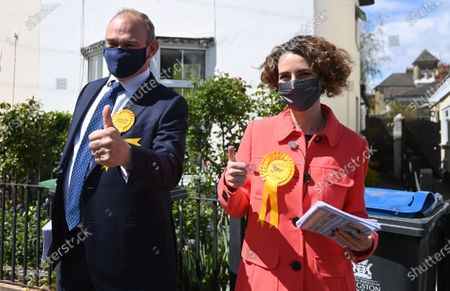 Liberal Democrat leader Sir Ed Davey (L) and the party's London mayoral candidate Luisa Porritt (R) campaign during a visit to Surbiton in south-west London, Britain, 05 May 2021.  The 2021 London mayoral election will be held on 06 May 2021.