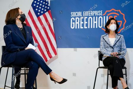 Stock Image of Vice President Kamala Harris attends a meeting with Secretary of Commerce Secretary Gina Raimondo at the Social Enterprise Greenhouse, in Providence, R.I