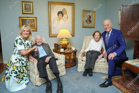 Stock Picture of President Joe Biden and first lady Jill Biden are pictured during an April 29, 2021, visit with former President Jimmy Carter and former first lady Rosalynn Carter at their home in Plains, Georgia.