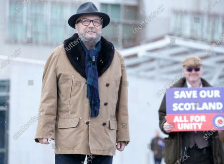 Stock Photo of Alliance founder George Galloway (L) makes a speech outside the Scottish Parliament, the day before the country goes to the polls, in Edinburgh, Scotland, Britain, 05 May 2021.