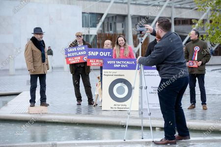 Stock Image of Alliance founder George Galloway (L) makes a speech outside the Scottish Parliament, the day before the country goes to the polls, in Edinburgh, Scotland, Britain, 05 May 2021.