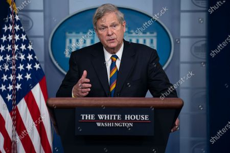 Agriculture Secretary Tom Vilsack speaks during a press briefing at the White House, in Washington