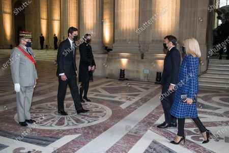 Prince Jean-Christophe Napoleon (2L) and his wife Princess Olympia von und zu Arco-Zinneberg (3L) welcome French President Emmanuel Macron (2R) and his wife Brigitte Macron (R) prior to a ceremony to commemorate the bicentenary of French Emperor Napoleon Bonaparte's death under the dome of the Saint-Louis cathedral in the Invalides National Hotel in Paris, France, 05 May 2021. 200 years ago, French military and political leader Napoleon Bonaparte (1769-1821) died in exile on the island of Saint Helena on 05 May 1821. Official commemorations of the bicentenary of his death spark controversy in France among those who consider him to represent a dark part of the country's history and those who support his legacy.
