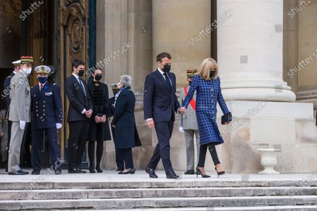 French President Emmanuel Macron (2R) and his wife Brigitte Macron (R) leave the Saint-Louis cathedral in the Invalides National Hotel after attending a ceremony to commemorate the bicentenary of French Emperor Napoleon Bonaparte's death with Prince Jean-Christophe Napoleon (C-L) and his wife Princess Olympia von und zu Arco-Zinneberg (C-R)  in Paris, France, 05 May 2021. 200 years ago, French military and political leader Napoleon Bonaparte (1769-1821) died in exile on the island of Saint Helena on 05 May 1821. Official commemorations of the bicentenary of his death spark controversy in France among those who consider him to represent a dark part of the country's history and those who support his legacy.