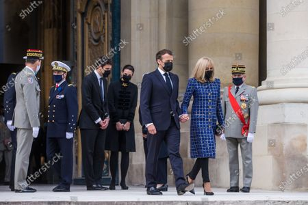 French President Emmanuel Macron (3R) and his wife Brigitte Macron (2R) leave the Saint-Louis cathedral in the Invalides National Hotel after attending a ceremony to commemorate the bicentenary of French Emperor Napoleon Bonaparte's death with Prince Jean-Christophe Napoleon (C-L) and his wife Princess Olympia von und zu Arco-Zinneberg (C-R)  in Paris, France, 05 May 2021. 200 years ago, French military and political leader Napoleon Bonaparte (1769-1821) died in exile on the island of Saint Helena on 05 May 1821. Official commemorations of the bicentenary of his death spark controversy in France among those who consider him to represent a dark part of the country's history and those who support his legacy.
