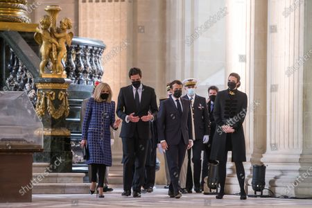 French President Emmanuel Macron (C) and his wife Brigitte Macron (L) leave the Saint-Louis cathedral in the Invalides National Hotel after attending a ceremony to commemorate the bicentenary of French Emperor Napoleon Bonaparte's death with Prince Jean-Christophe Napoleon (2L) and his wife Princess Olympia von und zu Arco-Zinneberg (R)  in Paris, France, 05 May 2021. 200 years ago, French military and political leader Napoleon Bonaparte (1769-1821) died in exile on the island of Saint Helena on 05 May 1821. Official commemorations of the bicentenary of his death spark controversy in France among those who consider him to represent a dark part of the country's history and those who support his legacy.