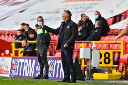 Charlton Athletic manager Nigel Adkins giving instructions to his players during the Sky Bet League 1 match between Charlton Athletic and Lincoln City at The Valley, London on Tuesday 4th May 2021.