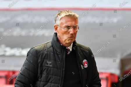 Charlton Athletic manager Nigel Adkins during the Sky Bet League 1 match between Charlton Athletic and Lincoln City at The Valley, London on Tuesday 4th May 2021.