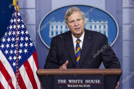 Agriculture Secretary Tom Vilsack speaks to the media about food and nutrition security, in the White House Press briefing Room in Washington, DC, USA, 05 May 2021.