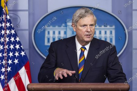 Agriculture Secretary Tom Vilsack speaks to the media about food and nutrition security in the White House Press briefing Room in Washington, DC, USA, 05 May 2021.United States Secretary of Agriculture Tom Vilsack speaks to the media about food and nutrition security in the White House Press briefing Room in Washington, DC, USA, 05 May 2021.