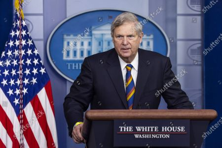 Agriculture Secretary Tom Vilsack speaks to the media about food and nutrition security in the White House Press briefing Room