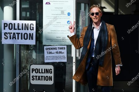 Stock Picture of Laurence Fox casts his vote at a polling station in Vauxhall, London.
