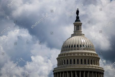Stock Photo of A view of the US Capitol in Washington, DC, USA, 05 May 2021. House Republicans have moved decisively to remove chairwoman of the House Republican Conference Liz Cheney from her leadership role with House Minority Whip Steve Scalise publicly calling for her ouster.