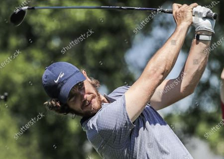 Tommy Fleetwood of England hits his tee shot on the eighth hole during the Wells Fargo Championship Pro-Am at Quail Hollow Club in Charlotte, North Carolina, USA, 05 May 2021. The Wells Fargo Championship will be played 06 May through 10 May.