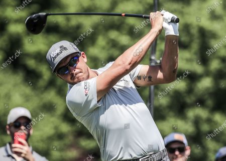 Stock Photo of Rickie Fowler of the US hits his tee shot on the eighth hole during the Wells Fargo Championship Pro-Am at Quail Hollow Club in Charlotte, North Carolina, USA, 05 May 2021. The Wells Fargo Championship will be played 06 May through 10 May.