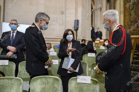 Stock Picture of Anne Hidalgo, Marc Guillaume and Didier Lallement