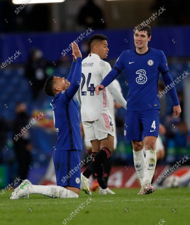 Stock Photo of Chelsea's Thiago Silva, left, celebrates with his teammate Andreas Chistensen at the end of the Champions League semifinal 2nd leg soccer match between Chelsea and Real Madrid at Stamford Bridge in London, . Chelsea won 2-0