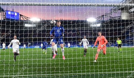 Timo Werner of Chelsea scores the opening goal during the UEFA Champions League semi final, second leg soccer match between Chelsea FC and Real Madrid in London, Britain, 05 May 2021