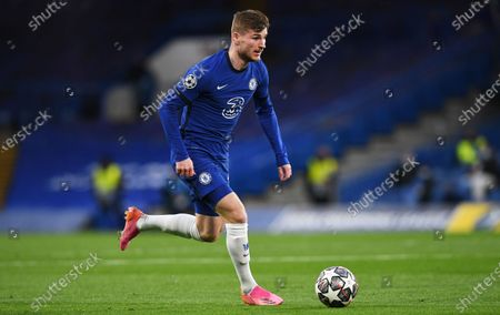 Timo Werner of Chelsea in action during the UEFA Champions League semi final, second leg soccer match between Chelsea FC and Real Madrid in London, Britain, 05 May 2021.