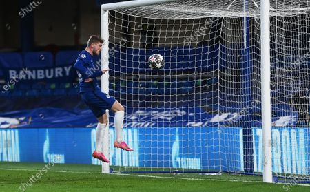 Timo Werner of Chelsea scores the opening goal during the UEFA Champions League semi final, second leg soccer match between Chelsea FC and Real Madrid in London, Britain, 05 May 2021.