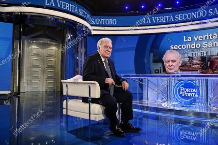 Italian journalist Michele Santoro attends the Raiuno Italian tv program Porta a Porta conducted by Italian journalist Bruno Vespa, Rome, Italy, 05 May 2021.