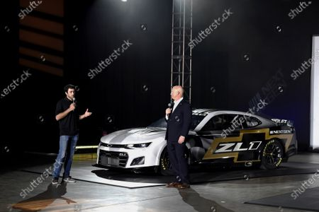 Driver Chase Elliott and Eric Warren, Director, NASCAR Programs with General Motors talk about the Next Gen Camaro that will be used in the 2022 season during the NASCAR media event in Charlotte, N.C